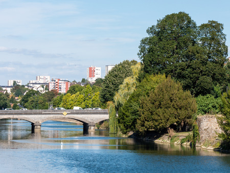 The Sarthe River and the town of Le Mans, in the west of France. It is a large city in the Pays de la Loire region,  on the Sarthe River.