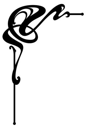 Vectorizado Art Nouveau Diseño de la esquina. Ilustración de vector