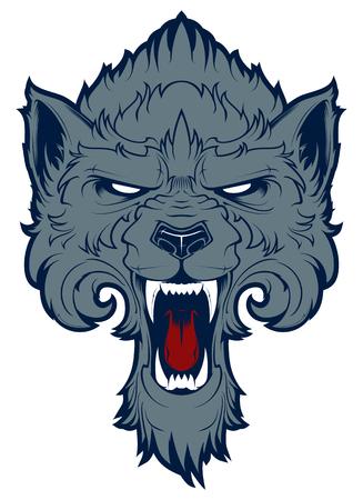 roaring: Roaring wolf mascot. Label. Emblem Illustration