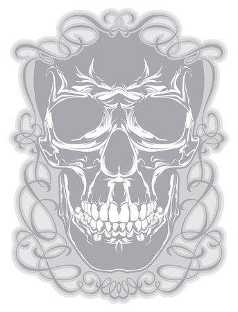 Skull with calligraphic design elements Illustration