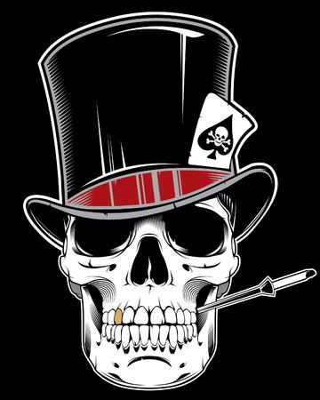 Illustration of skull wearing cylinder hat Ilustración de vector