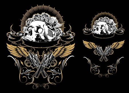 Skull with guns and roses. Design elements