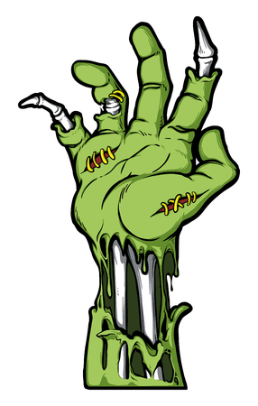 Severed zombie hand. Vector clip art. Halloween illustration. All in a single layer. Illustration