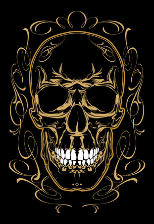 Skull in vintage frame. Calligraphic design elements. Illustration