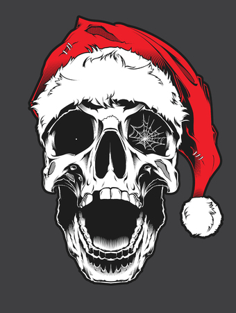 The image of the skull in christmas hat. Vector illustration. Illustration