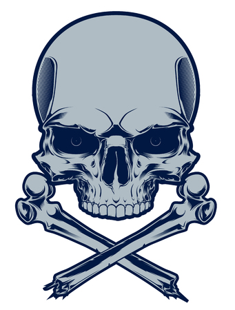 The image of the skull with cross bones. Vector illustration. Isolated on white. Illustration