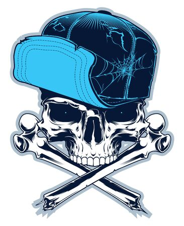 Gangster. Skull with cross bones and cap isolated on white Stock Illustratie