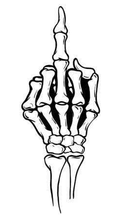 Skeleton shows middle finger, vector illustration, white background