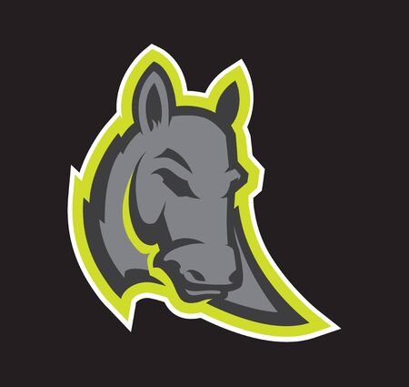 Logo style donkey head mascot, colored version. Great for sports logos & team mascots. Çizim