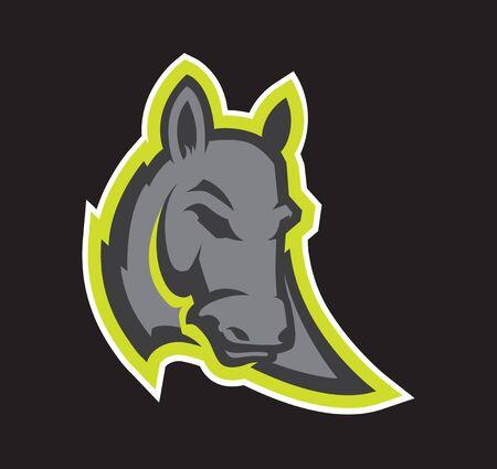 Mascotte de tête d'âne de style logo, version colorée. Idéal pour les logos sportifs et les mascottes d'équipe.