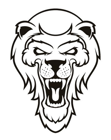 Roaring lion head mascot. Label. Isolated on white background