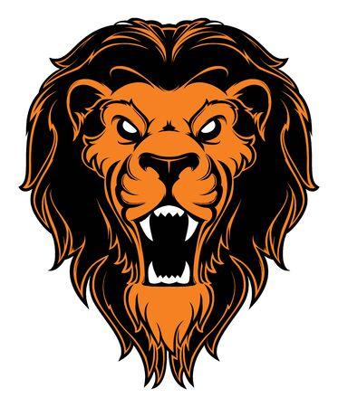 Mascota de cabeza de león rugiente. Etiqueta. Aislado sobre fondo blanco