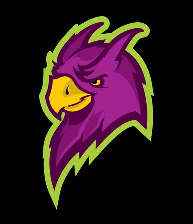 Logo style parrot head mascot, colored version. Great for sports logos & team mascots.