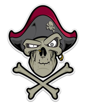 Pirate skull mascot. Sport . Label Isolated on white
