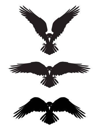 Corbeau héraldique maléfique aux ailes déployées. Mascotte, étiquette. Vecteurs