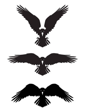Cuervo heráldico Dark Evil con alas extendidas. Mascota, etiqueta. Ilustración de vector