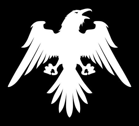 Dark Evil heraldic raven with spread wings. Mascot, logotype, label.