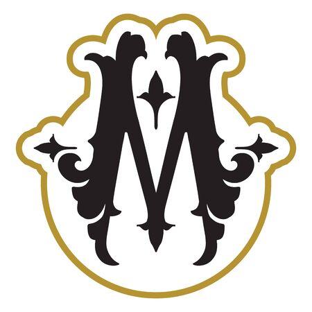 monogram design template with letter M Ilustração Vetorial