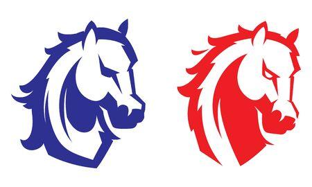 Mustang sport mascot. Horse head. Label Emblem