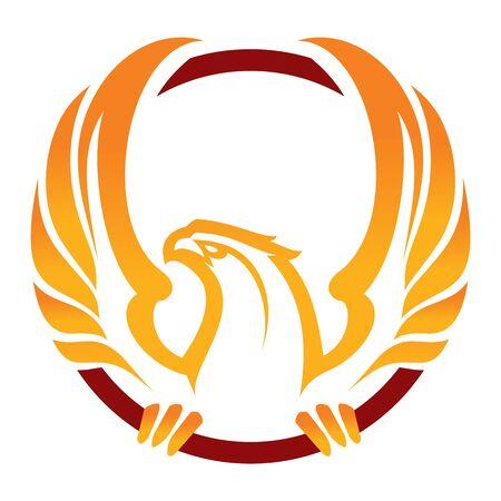 Phoenix sport mascot. Label. Isolated on white Stock Illustratie