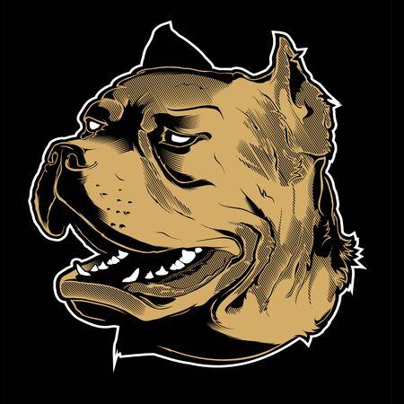 Vector illustration Angry pitbull mascot head, on a black background Illustration