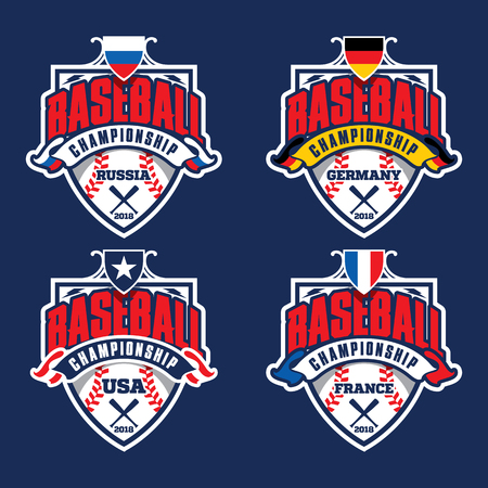 Baseball championship badge logo, logo, badge, banner, emblem, label, insignia, T-shirt screen and printing. Baseball logotype template.