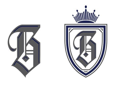 Letter B in shield / crest icon. Alphabet vector design template.
