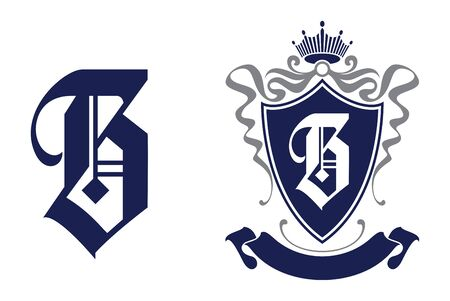 Letter B in shield  crest icon. Alphabet vector design template.