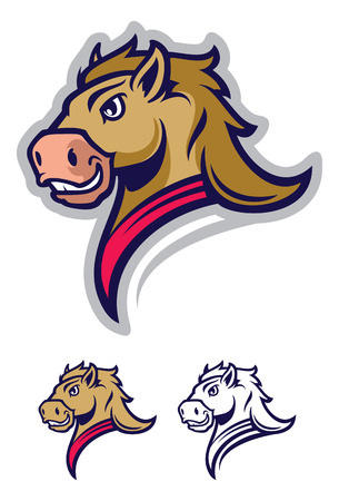 Logo style horse head mascot, colored version. Great for sports logos & team mascots.