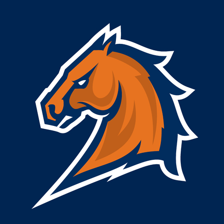 Horse head mascot, colored version. Great for sports logos & team mascots.