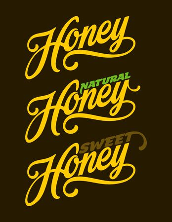 Honey lettering text. Hand drawn calligraphy vector illustration.