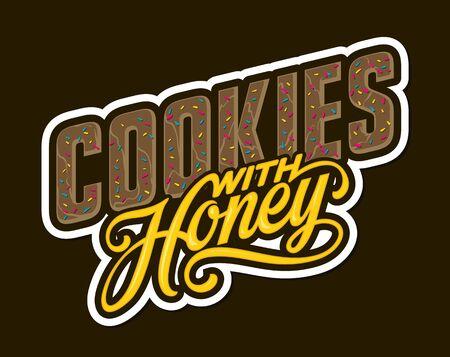 Cookies with Honey lettering. Vector illustration Ilustração