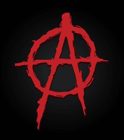 Grungy illustration of the anarchy symbol Иллюстрация