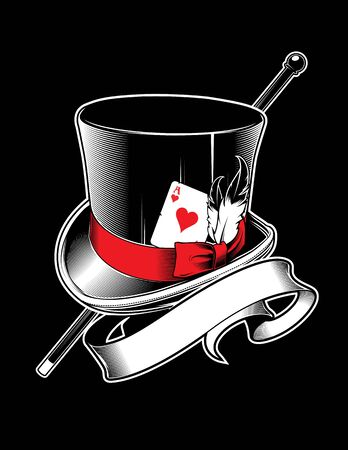 magician hat with cane, ace of hearts and ribbon
