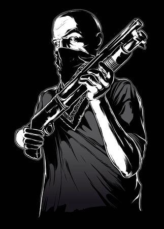 Gangster portant un masque avec un pistolet