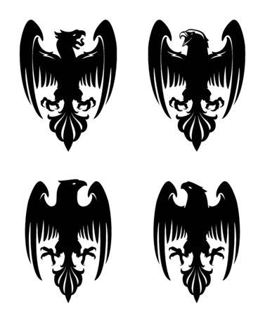 Dark Evil heraldic eagle with spread wings. Mascot, label.