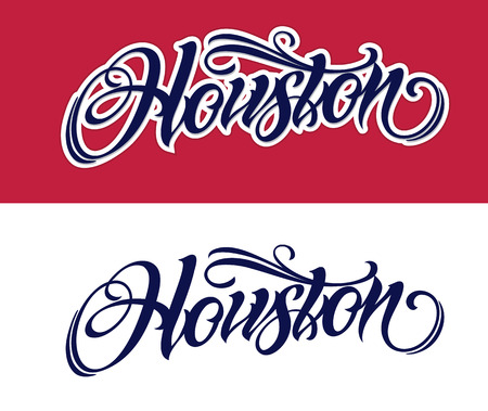 Houston lettering in chicano tattoo style