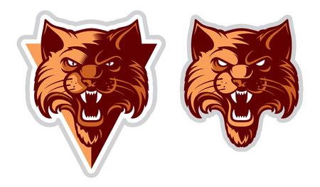 Cartoon character cat vector. Great for sports emblems & team mascots. Illustration