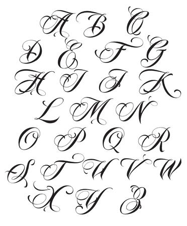 Calligraphy alphabet. Design elements.Decoration Ilustração