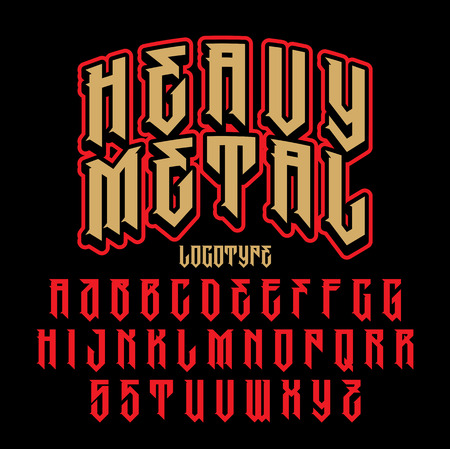 Heavy metal alphabet. Brutal font. Typography for labels, headlines, posters etc. Çizim