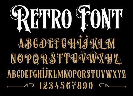 Vector retro alphabet. Vintage font. Typography for labels, headlines, posters etc. Ilustração Vetorial