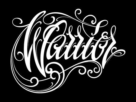 Warrior lettering in modern tattoo style. Design element Illustration