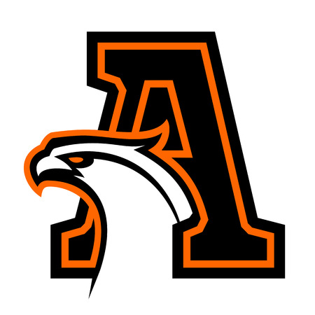 Letter A with eagle head. Great for sports mascots.