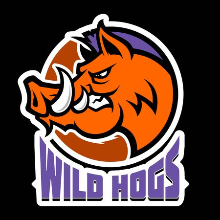 Wild hog or boar head mascot, colored version. Great for sports team mascots. Stock Illustratie
