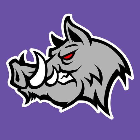 Wild hog or boar head mascot, colored version. Stock Vector - 133293193