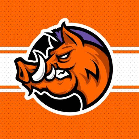 Wild hog or boar head mascot, colored version. Stock Vector - 133293198