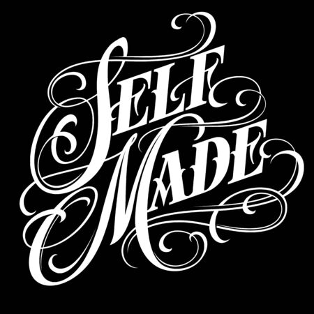 Self made - elegant calligraphic lettering in tattoo style.