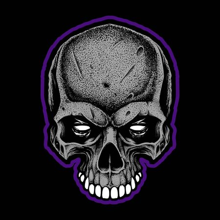 Angry skull. Dotwork.I solated on black background. Vector illustration Foto de archivo - 150088747