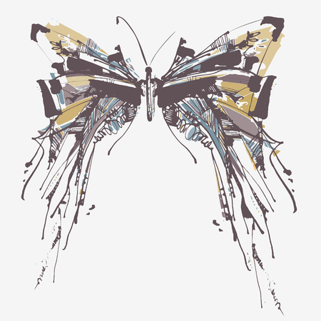 batterfly: Beautiful vector vintage design with ink hand drawn batterfly sketch for greeting card or invitation. Decorative butterfly portrait.