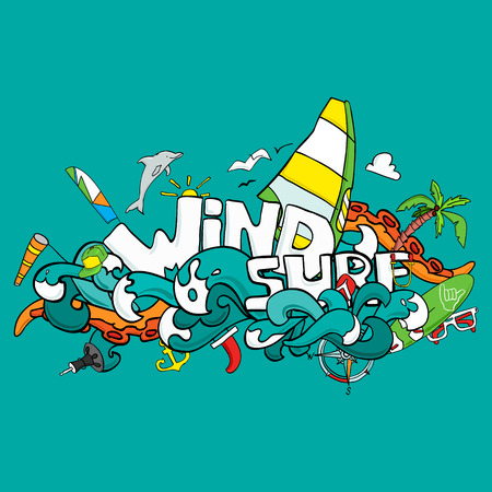 wetsuit: Vector card of windsurfing. Board with a sail, wetsuit, surfboard, wind, sail, sunglasses. All for lovers of active holidays at sea and active lifestyle. Family summer holiday. Good vector flyer or banner
